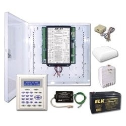 """Security and Automation Control System Kit, Includes M1 Gold Control Board, M1KP2 LCD Keypad, Enclosure, Battery, AC Transformer, Speaker, Telco Jack, Surge Protector, 14"""" Can"""