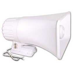 "Horn Speaker, Multi-Purpose, 30 Watt, 500 to 7000 Hertz, 8 Ohm Impedance, 6"" x 8"" x 9.5"", White, For Exterior Use"