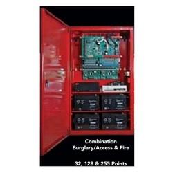 "Fire/Burglary System Kit, Wireless/Conventional, 24 Volt Panel, 32-Point, 2 NAC Circuit, 16 Amp-Hr Battery, Locking, Medium Red Enclosure, 16"" x 17"" Door, 14.25"" x 16"" Base"