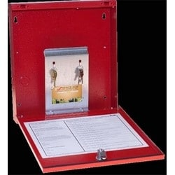 """Fire Alarm Document Box, Key Ring Hook, Business Card Holder, 12"""" Width x 2-1/4"""" Depth x 13"""" Height, Durable Power Coat Baked 16 Gauge Steel, Red, With USB Storage Interface"""
