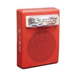 "Speaker Strobe, 24 Volt DC, 1/8 to 2 Watt, 400 to 4000 Hertz, 5"" Width x 2.58"" Depth x 6.74"" Height, Wall Mount, Plastic, White"