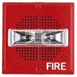 """Speaker Strobe, 24 Volt DC, 1/8 to 2 Watt, 400 to 4000 Hertz, 5.13"""" Width x 2.56"""" Depth x 5.13"""" Height, Wall Mount, Plastic, Red"""