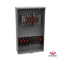 Meter Socket, Transformer Rated, 13 Terminal, Ringless, 20 Amp, Plain Top, Test Switch Included, TUV Aluminum Painted