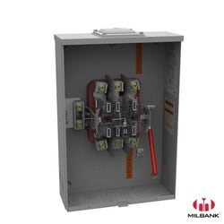 Meter Base, Lever Bypass, Single Position, 7 Terminal, Ringless, 200 Amp, 600 VAC, Overhead or Underground Service, Large Closing Plate, Quadplex Ground, Aluminum Painted