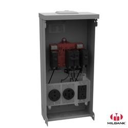 Power Outlet, Surface Mount, Unmetered, 125 Amp, Small Closing Plate, Nema TT30, Nema 14-50, Nema 5-20 Ground Fault Receptacle