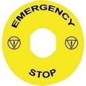 Marked Legend DIA60 For Emergency Stop - Emergency Stop/Logo Iso13850