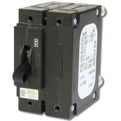 Circuit Breaker, 175A, 2 POLE, MAG, TOG, 65VDC, Bullet Terminals Single Toggle, Long Delay