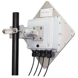 Wireless Ethernet Subscriber Unit, Outdoor, 3-Port, 5.8 Gigahertz, 100 Mbps, With Radio, Heavy Duty Pole Mount Bracket, PoE Injector, 56 Volt DC/50 Watt Power Supply