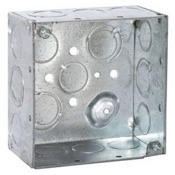 "Conduit Outlet Box, Welded, 17-Knockout, 4"" Width x 2-1/8"" Depth x 4"" Height, 30.3 Cubic Inch, Pre-Galvanized Steel"