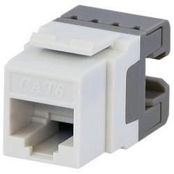 Keystone Jack, Cat 6, T568A/B Wiring, 110 Type IDC, White