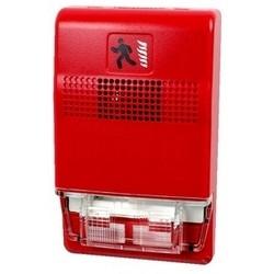 "Fire Alarm Horn Strobe, Wall Mount, 24 Volt DC, 98.6/88.6 dB, 2.75"" Width x 0.82"" Depth x 4.5"" Height, Plastic, Red"