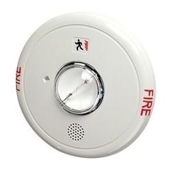 """Fire Alarm Horn Strobe, Ceiling Mount, 24 Volt DC, 95/85 dB, 6.8"""" Diameter x 1.6"""" Depth, Plastic, White"""