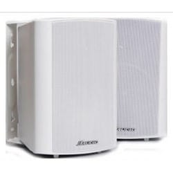 "Outdoor Speaker, Bracket Mount, 20 to 120 Watt, 50 Hertz to 22 Kilohertz, 89 dB Sensitivity, 8 Ohm Impedance, 5-1/4"" Woofer, 7-1/16"" Width x 6-9/17"" Depth x 9-11/16"" Height, White"