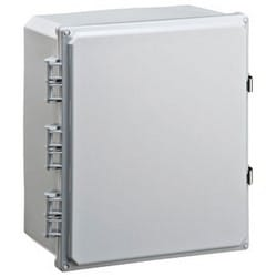 """Indoor/Outdoor Electrical Enclosure, Non-Metallic, NEMA 2/3/3R/3S/4/4X/5/12/13, 12"""" Width x 6"""" Depth x 14"""" Height, Polycarbonate, Black, With Stainless Steel Latch"""
