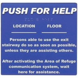 Polycarbonate, Self-adhesive Push for Help Sign
