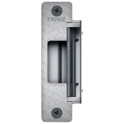 "Electric Strike, 12/24 Volt AC/DC, 1-1/4"" Width x 4-7/8"" Height, Satin Stainless, With Faceplate, Trim Skirt"