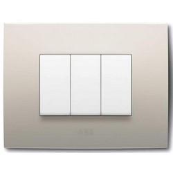 Flush Mounting Box Frame, Rectangular, 1-Gang/3-Module, Non-Illuminated, 85 MM Width x 10 MM Depth x 120 MM Height, Plastic, Sand