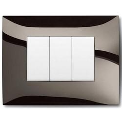 Flush Mounting Box Frame, Rectangular, 1-Gang/3-Module, Non-Illuminated, 85 MM Width x 10 MM Depth x 120 MM Height, Plastic, Glossy Metal Black