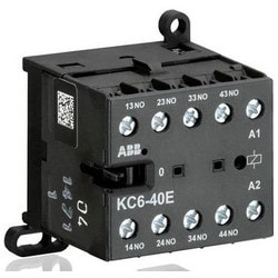 Mini Contactor Relay, 690 Volt Auxiliary/Insulation, 24 Volt Circuit, 4 Ampere at 240 Volt AC, 2.5 Ampere at 24 Volt DC, 4-Pole, 4NC