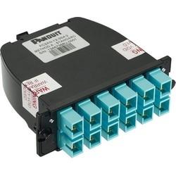 OM4 24-Fibre Total, Aqua adaptateur, zircone Split manchon Standard perte, LC Duplex à MTP (mâle); Méthode B - B1 (gamme 1-1)