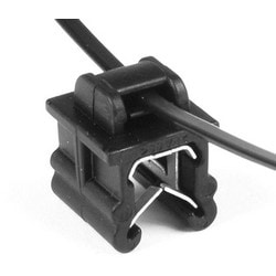 """Cable Tie and Edge Clip, 50lb, 8.0"""" Long, EC19, Panel Thickness .12""""-.24"""", PA66HS, Black"""