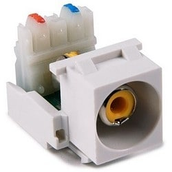 RCA-110 Connector Module With Yellow Stripe, White