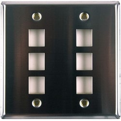 Dual Gang 6 Port Flush Mount Faceplate, Stainless Steel