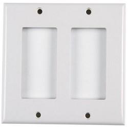 Dual Gang Rectangular Decorator Faceplate, ABS 94V-0, Office White