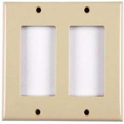 Dual Gang Rectangular Decorator Faceplate, ABS 94V-0, Ivory