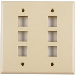 Dual Gang 6 Port Flush Mount Faceplate, ABS 94V-0, Ivory