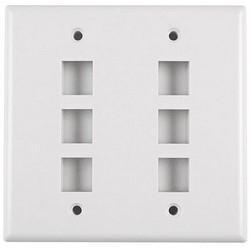 Dual Gang 6 Port Flush Mount Faceplate, ABS 94V-0, White