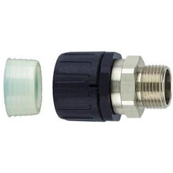 "HelaGuard Non-Metallic IP68 Fitting, Straight Brass Swivel, Ext. Metric Thread, 0.75"" (25mm) Dia, NPB PA66, Black"