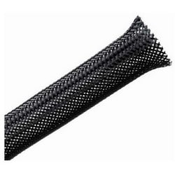 "Braided Sleeving, Expandable, Fray Resistant, 0.5"" Dia, PET, Black"