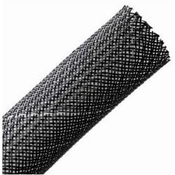 "Braided Sleeving, Expandable, Fray Resistant, Flame Retardant, 1"" Dia, PET, Black"