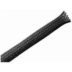 """Braided Sleeving, Expandable, Fray Resistant, 0.25"""" Dia, PET, Black"""