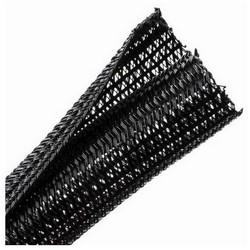 "Braided Sleeving, Split Wrap, 0.25"" Dia, PET, Black"