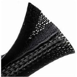 """Braided Sleeving, Hook & Loop, Flame Retardant, 2.5"""" Dia, PET, Black"""