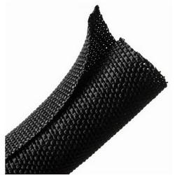 "Braided Sleeving, Split Wrap, 0.75"" Dia, PET, Black"