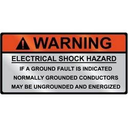 "Metal Solar Placard, WARNING GROUNDED CONDUCTORS ENERGIZED..., 3.75"" x 2.0"", AL,Orange/Silver,5/pkg"