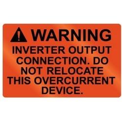 "Metal Solar Placard, WARNING INVERTER OUTPUT OVERCURRENT DEVICE, 2.0"" x 1.25"", AL, Orange"