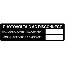"Metal Solar Placard, PHOTOVOLTAIC AC DISCONNECT..., 3.75"" x 1.0"", AL, Black"