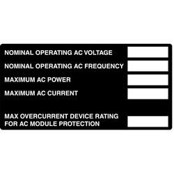 "Metal Solar Placard, Hand Writable, 2017 Code, AC Module, 4.0"" x 2.0"", AL, Black"