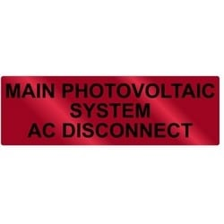 """Metal Solar Placard, 2017 Code, MAIN PV SYSTEM AC DISCONNECT, 5.5"""" x 1.75"""", AL, Red"""