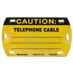 """Caution Write-On Self-Laminating Tag, Telephone Cable, 3.5"""" x 2.0"""", Yellow"""