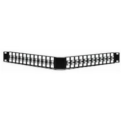 Modular Patch Panel, Angled, 48 Port, 1U, Steel, Black
