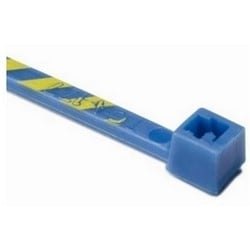 """Standard Cable Tie, 4"""" Long, 18lb Tensile Strength, PA66, Blue/Yellow Striped"""