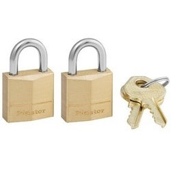 "Padlock, Keyed Alike, 3-Pin Cylinder, 3/4"" Width, 7/16"" Shackle Clearance, Solid Brass, 2 each per Pack"