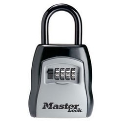 "Combination Lock Box, Numeric, Portable Key Storage, 3-1/4"" Width, 1-13/32"" Shackle Clearance"