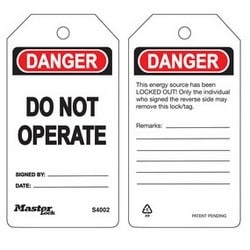 Danger Do Not Operate - Safety Tag