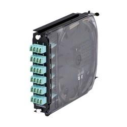 Un volet CCH Pigtailed Splice Cassette, 24 F, LC duplex, turquoise, OM3